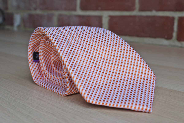 Geoffrey Beene (New York, USA) Silk Blend Orange and White Diagonally Striped Necktie