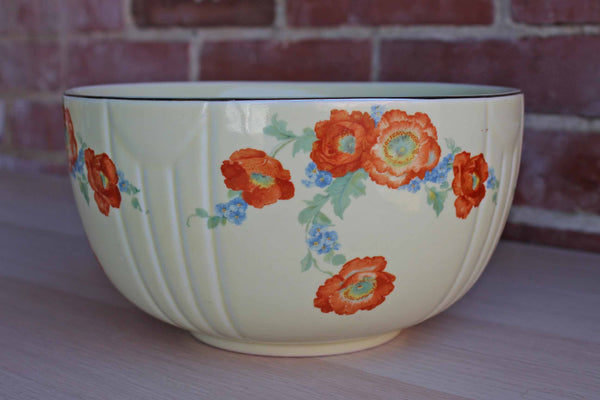 Hall's China (Ohio, USA) Heavy Ceramic Bowl Decorated with Flowers