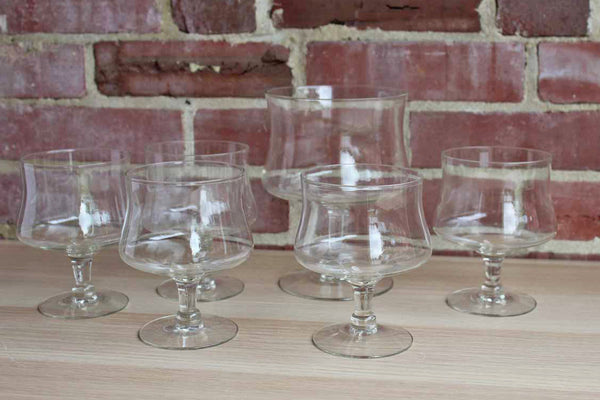 Clear Sorbet or Fruit Glasses with Large Matching Toppings Glass, Set of 6 Pieces