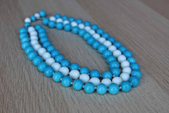 Triple Strand Choker Necklace with Blue and White Glass Beads