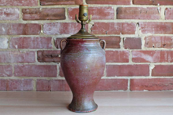 Unaka Potteries (North Carolina, USA) Hand Turned Urn-Shaped Stoneware Lamp with Flambe Glaze