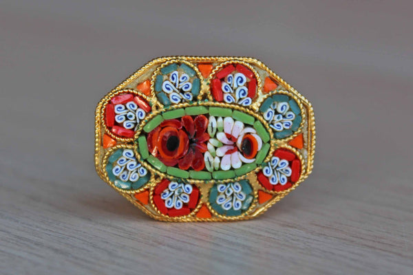 Orange, Blue, and Red Micro Mosaic Flower Brooch, Made in Italy