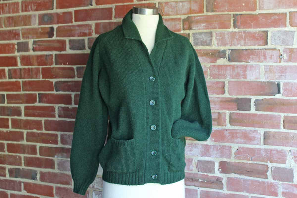 Peter Scott (Hawick, Scotland) Forest Green Pure Wool Sweater, Size 38