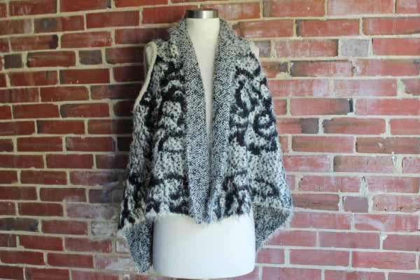 Super Soft Reversible Black and Cream Sleeveless Sweater