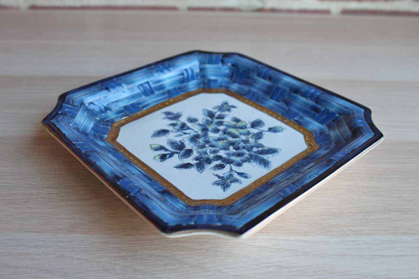 Ceramic Dish with Blue Basketweave Pattern Surrounding Floral Center