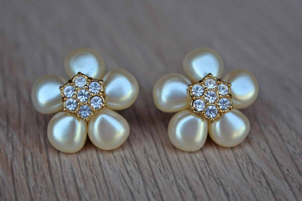 Faux Pearl and Diamond Flower Pierced Earrings with Gold Tone Petals