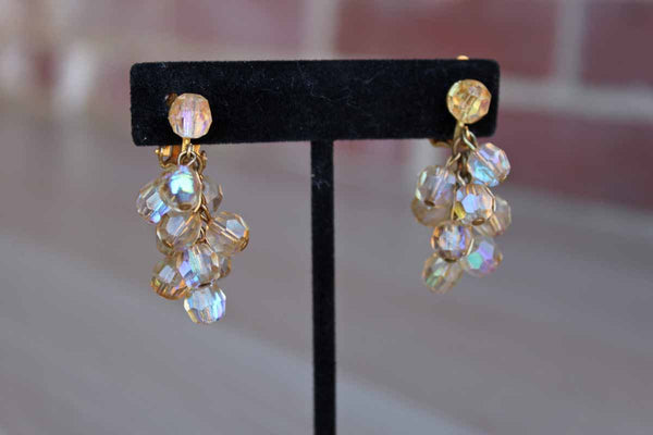 Aurora Borealis Beaded Cluster Dangling Non-Pierced Earrings