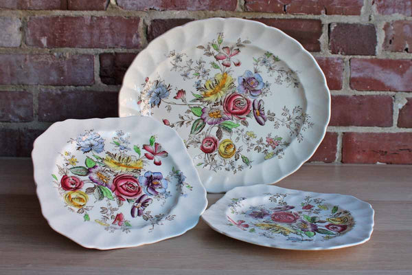 Johnson Brothers (England) Sheraton Serving Dish and Two Square Salad Plates