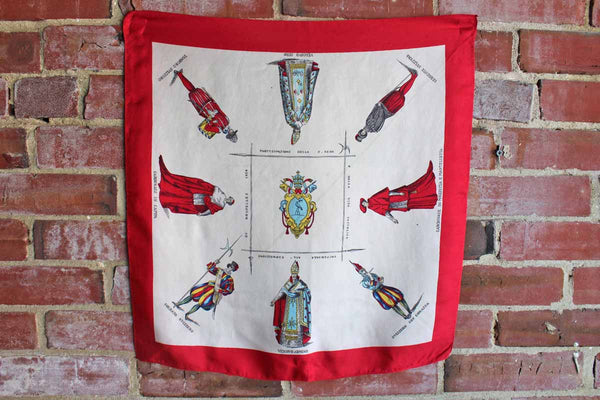 Silk Neck Scarf Decorated with Catholic Religious Figures