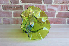 Viking Art Glass (West Virginia, USA) Avocado Green Pedestal Bowl with Wavy Flared Rim