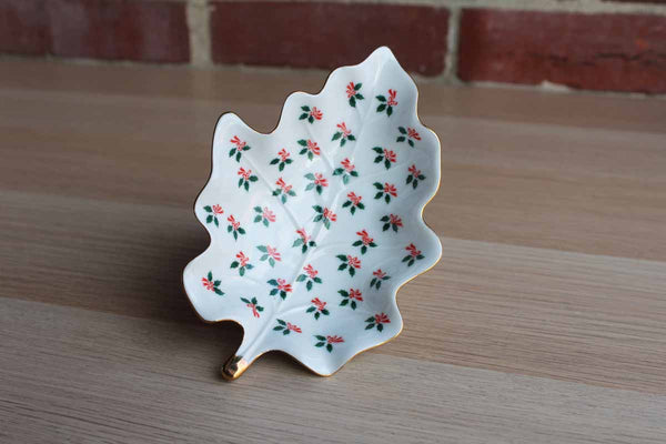 Lefton China (Japan) Porcelain Leaf-Shaped Dish Handpainted with Holly Leaves, Berries, and Red Bows