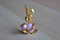 Gold Tone Bunny Brooch with Purple Stone Body and Purple Rhinestone Eyes
