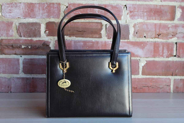 Koret Black Leather Structured Handbag with Gold Hardware