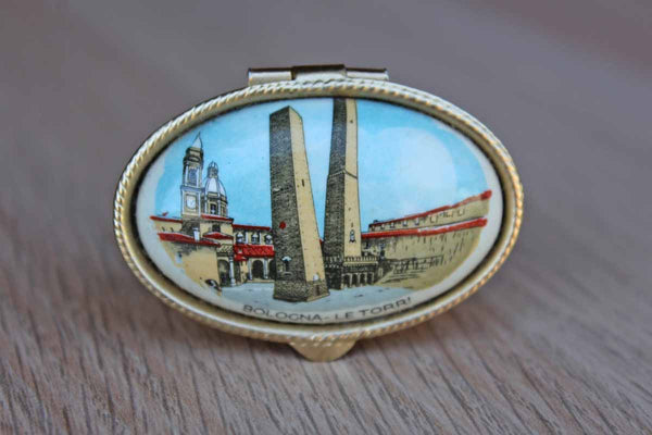 Ceramic Pill Box with Hinged Lid Decorated with the Two Towers of Bologna, Italy