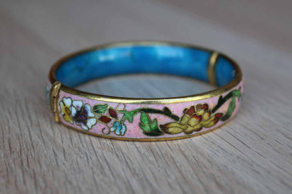 Pink Floral Enamel on Brass Cloisonne Bangle Bracelet