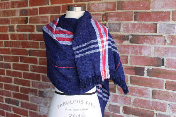 Red, White, and Blue Striped Long Soft Cotton Scarf
