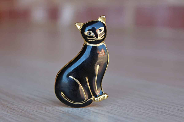 Black Enamel on Gold Tone Cat Brooch