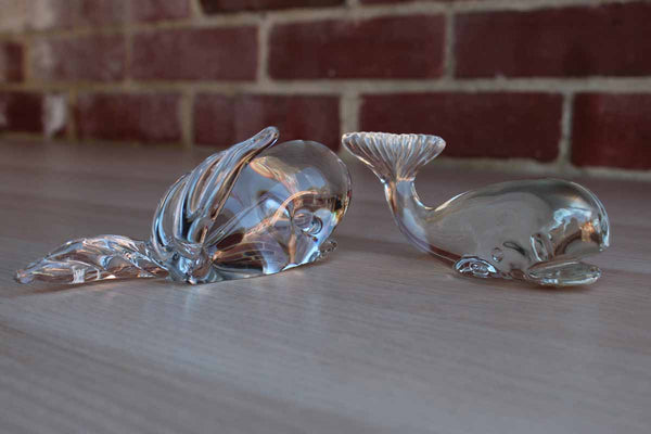 Clear Solid Glass Whale Paperweights, A Pair