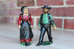 Cast Iron Amish Couple Figurines