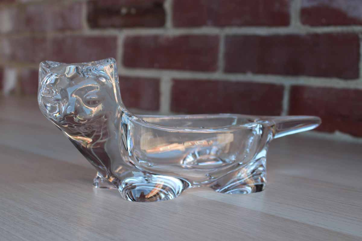 Solid Glass Cat Shaped Bowl