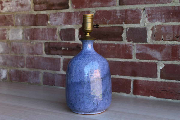 Heavy Stoneware Table Lamp with Blue Glaze Finish