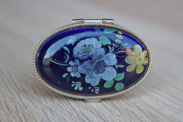 Silver Metal Hinged Pill Box with Blue Painted Floral Lid