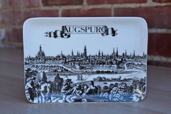 Uhlenhorst (Germany) Ceramic Graphic Tray Depicting Augspurg, Germany