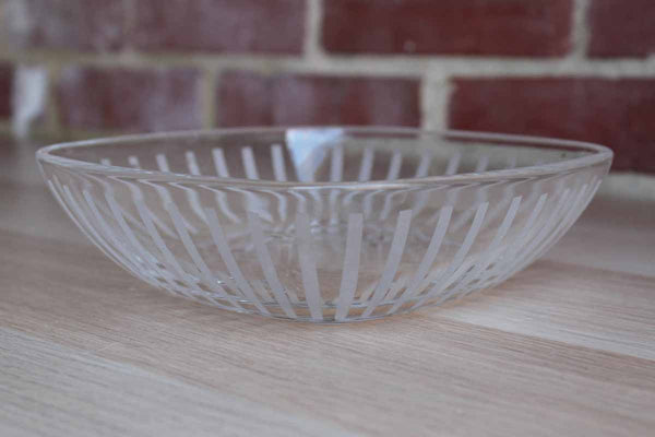 Glass Bowl Decorated with Vertical Frosted Etched Lines