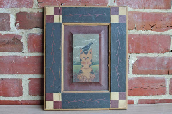 Jacquie Leibenguth 1999 Hand-Painted Cat with Frame