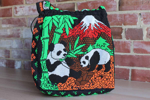 Colorful Stick-On Beaded Cotton Handbag Decorated with Panda Bears, Bamboo, and a Volcano