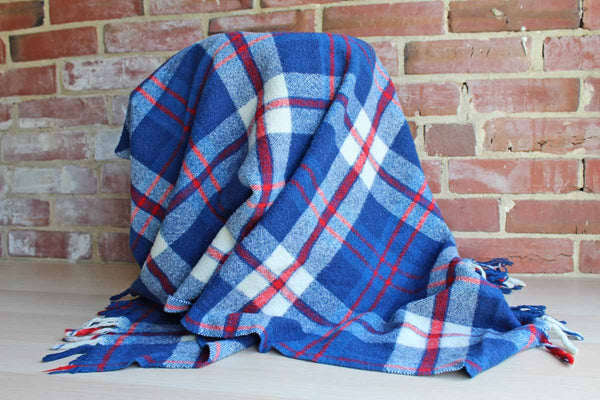 Small Red, White, and Blue Plaid Lap Blanket with Old Fringed Ends