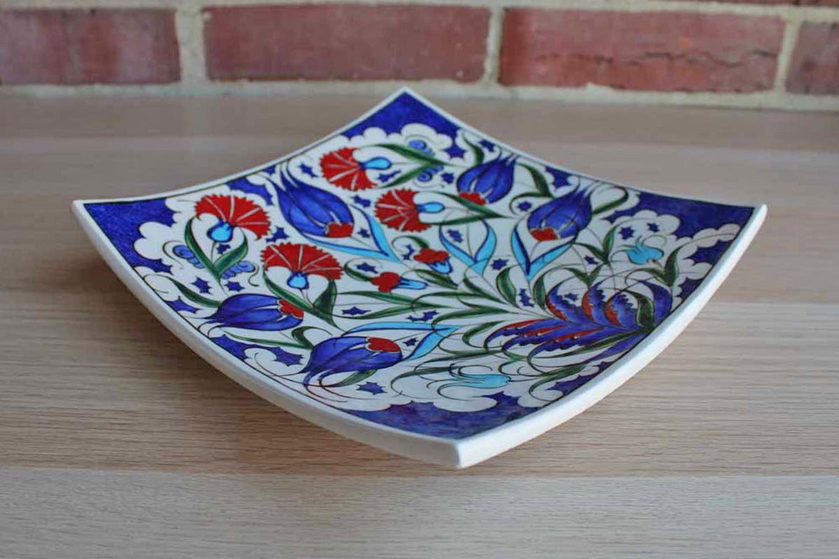 Turkish (Kutahya) Ceramic Plate Handmade and Decorated with Vibrant Red and Blue Flowers