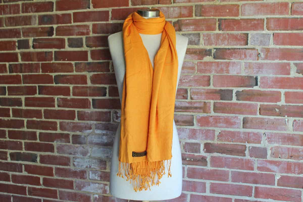 Bright Orange Cashmere/Silk Scarf with Fringed Ends