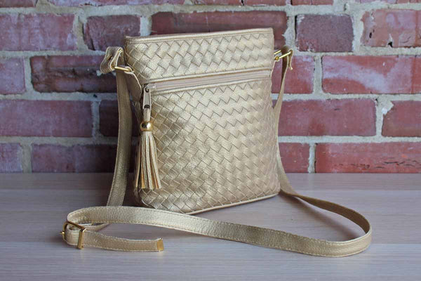 Gold Weave Crossbody Purse with Tassel, Made by Allen Edward