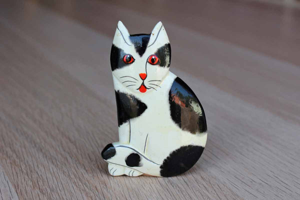 Black and White Painted Wood Cat Brooch