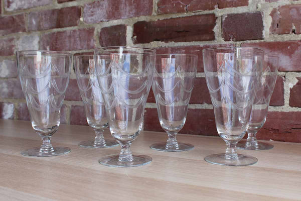 Clear Footed Glasses Decorated with Etched Swag Detailing, Set of 6
