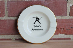 Peter's Apartment Round Ashtray with Gold Trim