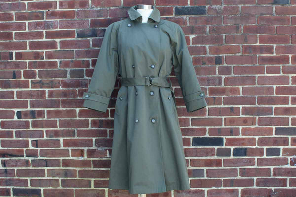 London Towne Green Cotton Blend Trench Coat with Removeable Lining
