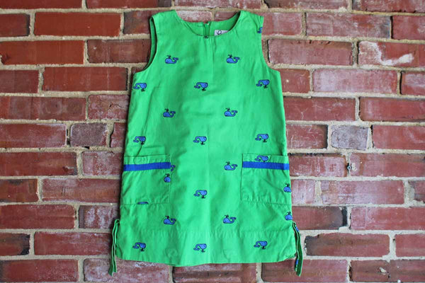 Lilly Pulitzer (USA) Sleeveless Shift Dress Decorated with Blue Whales on a Green Background, Childrens Size 6