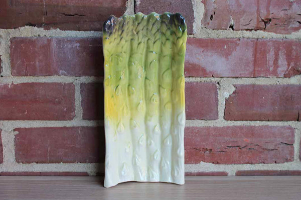 Ceramic Asparagus Dish Painted in Yellows and Greens