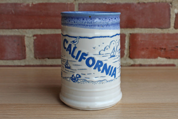 California Ceramic Blue and White Handled Coffee Mug