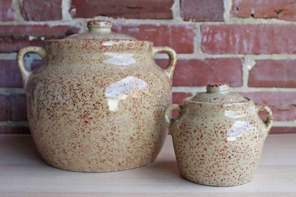 Western Stoneware (Illinois, USA) Small and Large Bean Pots with Red Spongeware Glaze