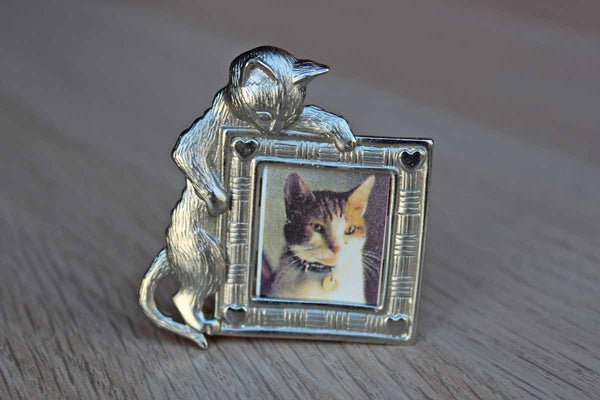 Jonette Jewelry (Rhode Island, USA) Silver Tone Brooch of a Cat Perching Over A Little Picture Frame