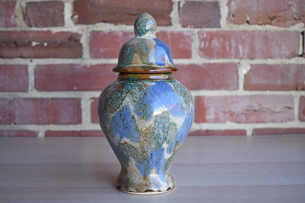 Ceramic Ginger Jar with Dabbed Blue, Green and Gray Lava Glaze Patterns