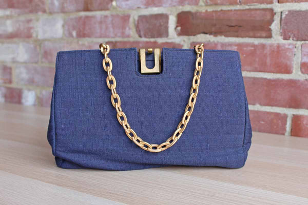 Ingber (Pennsylvania, USA) Blue Linen Handbag with Gold Tone Chain Link Strap