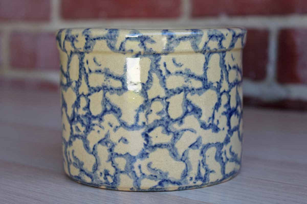 Robinson Ransbottom (Ohio, USA) 1-Pint Blue Spongeware Stoneware Crock