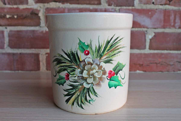 Robinson Ransbottom Pottery (Ohio, USA) 2 Quart Stoneware High Jar Handpainted by Folk Artist Marjorie Craig