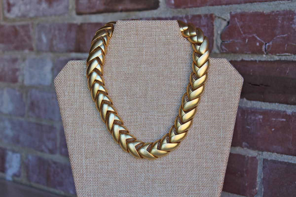 Brushed Gold Tone Large Chain Link Necklace