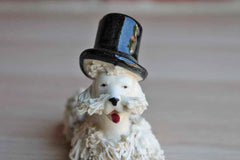 White Porcelain Spaghetti Poodle Wearing a Top Hat