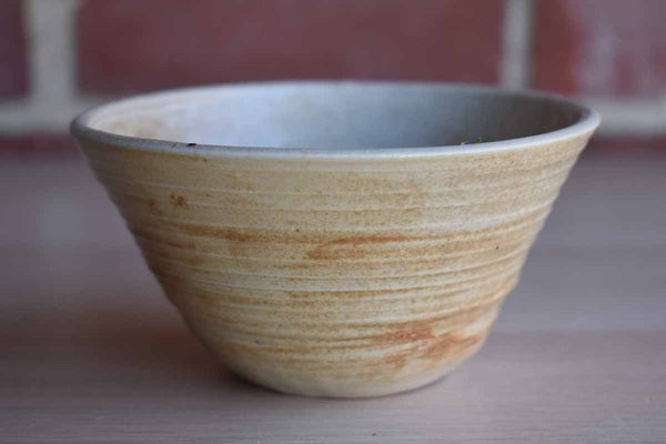 Simple Little Ribbed Stoneware Bowl with Tan and Cream Pattern